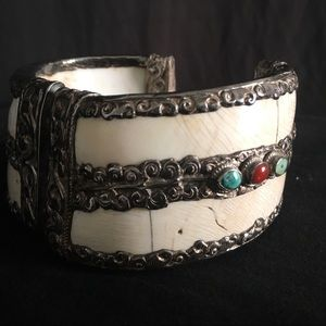 Sterling Ivory Repousse India Hinge Bracelet Cuff